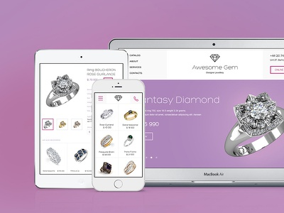 Awesome Gem - Responsive Template jewelry store shop accessories ecommerce template psd responsive minimalistic purple diamond
