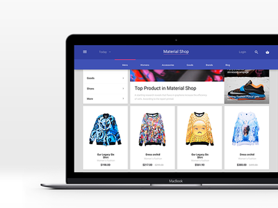 Material News Commerce products gumroad concept psd template web store shop blog commerce news material