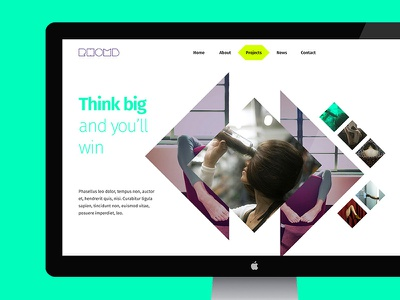 Super Rhomb super bright color desktop portfolio psd template web creative slider