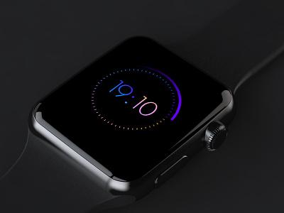 Day 029 — Clock dailyui daily100 day029 ui ux free freebie clock watch apple iwatch gradient