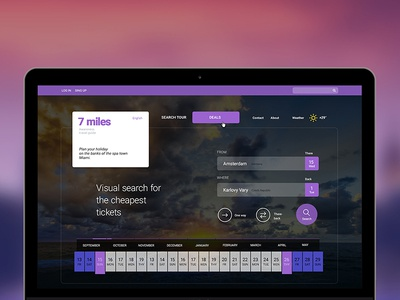 7 Miles. Search tickets psd template web theme travel agency blog tour hotels tickets