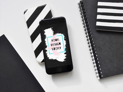 iPhone 7 PSD Mockups ios business black showcase photo design device mockup presentation psd iphone7 iphone