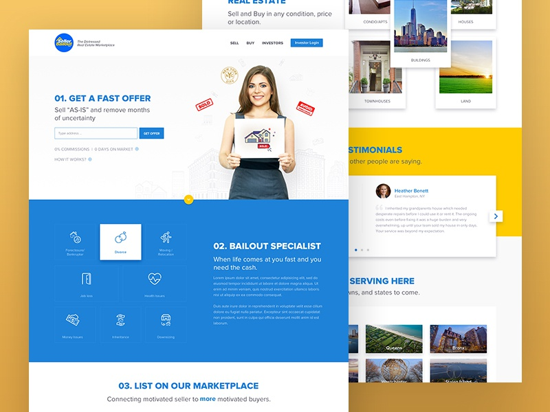 Seller bailout homepage website free psd