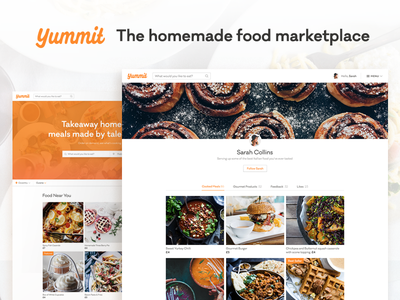 Yummit - The homemade food marketplace startup app website branding cooking food