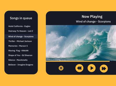 Music Player app web design desktop music player