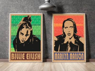 Pop-art posters portrait popular design illustraion marilyn manson billie eilish poster design poster poster art pop art popart