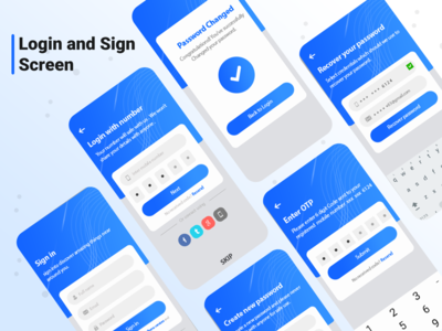 Sign up and Sign in Screen minimal ui branding vector ux typography app singup sign login illustration design