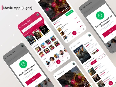 Movie App  (Light) streaming movie streamning design listing mobile app mobile ui ui ux clean minimalistic theater cartoons tv show search cinema movie app movie