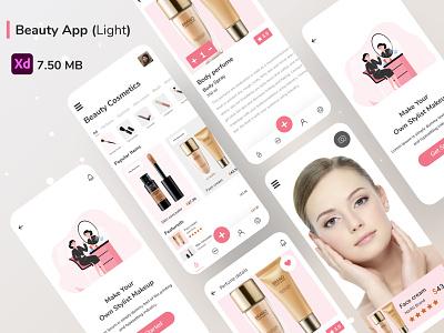 Beauty App (Light) beauty app salon products beauty products cosmetics illustraion skin mobile light cards beauty e commerce fashion makeup skincare soft store ux ui feminine