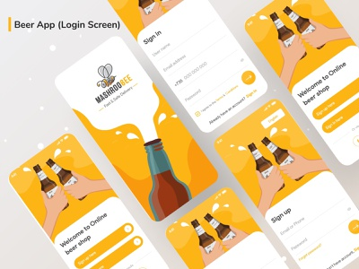 Beer App (Sign in & Sign up screen) design branding app clean icon illustraion illustrator minimal ui brand logo animation web ios icons flat beer mobile app beer beer app beer can