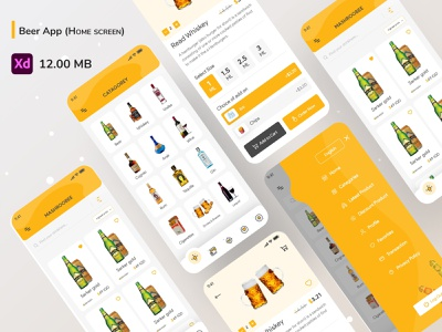 Beer App (Home screen) ui ux dribble minimal creative design branding flat trandy e-commerce alcohol drinks beer wine whisky jin rum vodka brandy clean