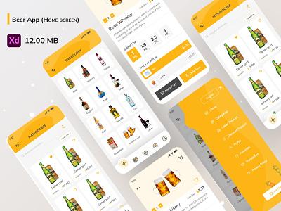 Beer App (Home screen) ui ux dribble minimal creative design branding flat trandy e-commerce alcohol drinks beer wine whisky jin rum vodka brandy clean