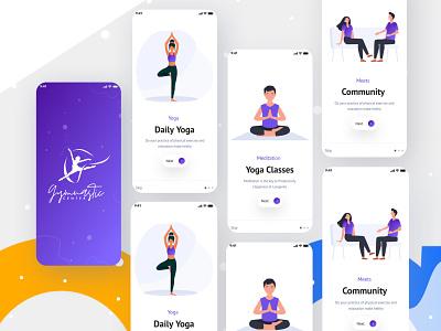 Yoga App (On-boarding Screen) on boarding ui design screen mobile ui yoga app illustraion app design interface onboarding health fitness meditation