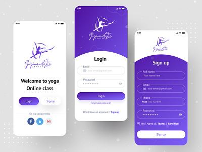 Yoga App (Login screen) yoga exercises profile analytics feeds sign in welcome screen home health design ui fitness fitness app login log in user interface mockups ui design app mobile app