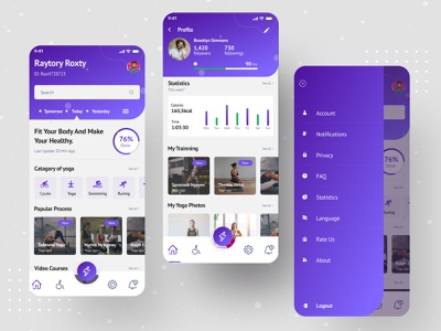 Yoga App (Home screen) yoga app mobile app ux ui 2021 design app icon figma mobile application fitness fitness app health yoga workout home gym strength trainer
