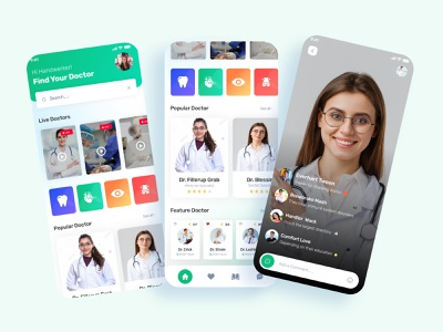 Medical Consultation app health design app doctor appointment mobile patient app healthcare medical logo 3d animation ui