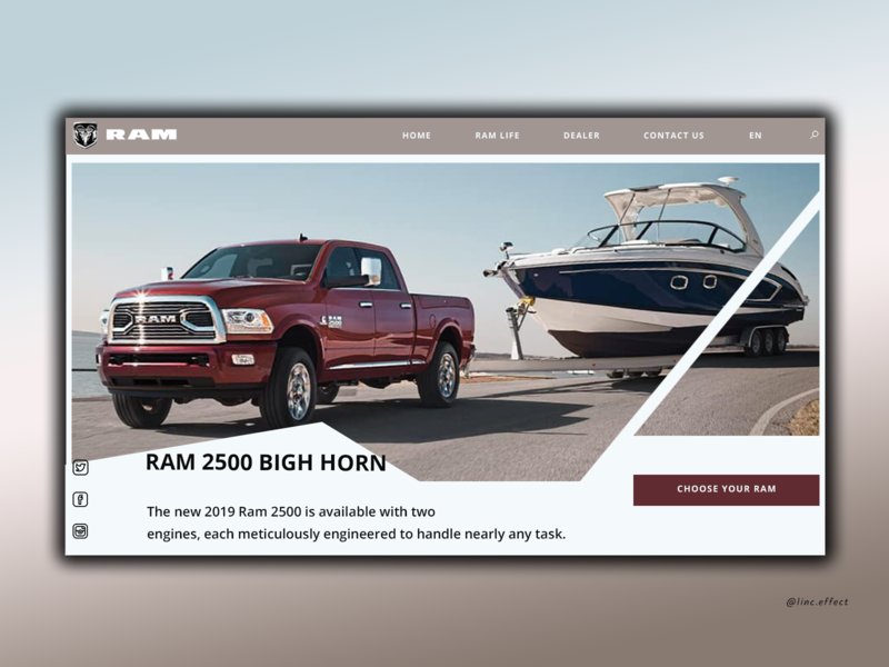Dodge Ram Bigh horn inspiration landingpage landingpagedesign dodgeram ram dodge design art designweb site design site designer uxui figmadesign website webdesign creative design uidesign uxdesign illustration