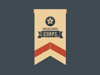 Reading Corps Logo logo bookmark patriotic corps military star stripes reading literacy ribbon medal distressed