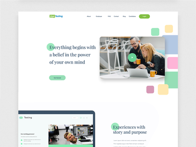 User Testing Home Page urban planning vintage re-branding re-design play video playback typeface experiences business and finance user analysis web ux ui social logo landing page home website app