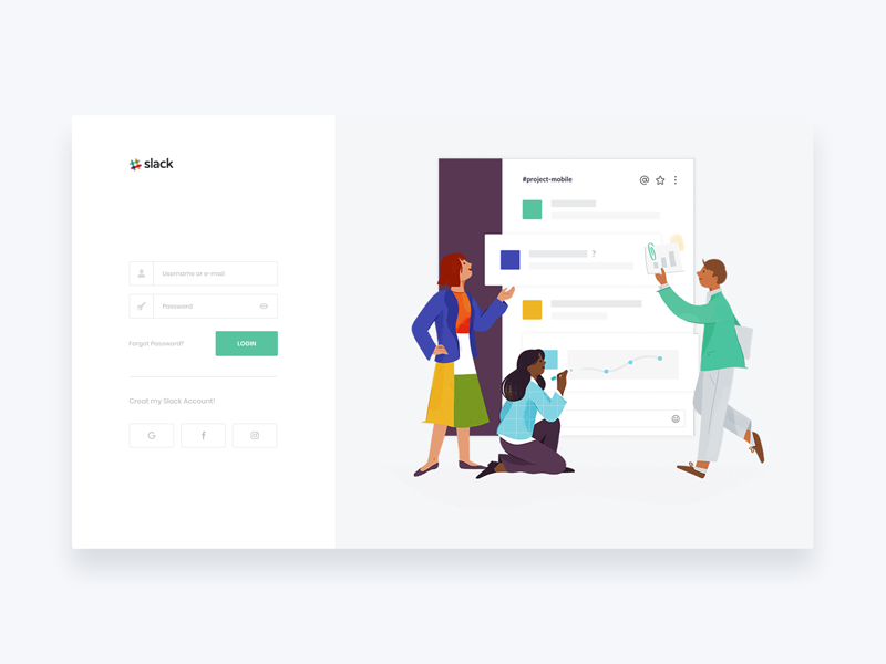 Slack Login Idea logo minimal illustration app clean page design ux landing ui widget signup signin password login light icons form button slack
