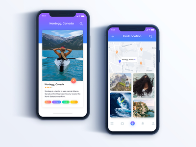 Travel App UI Design Idea Concept food funny graphic green gradient gif geometic game profile poem log iphone ios in feed cards ux trend exploration travel