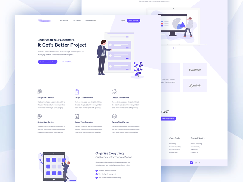 Projects Management Landing Page Idea Exploration uiux trend startup house software flat clean minimal landing business