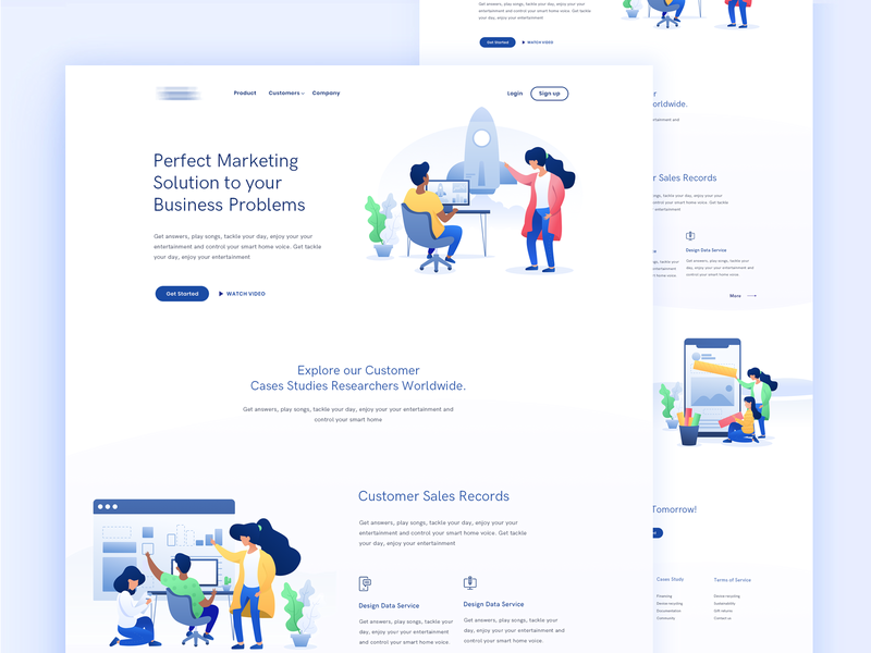 Marketing Agency Landing Page - 2 ui-design marketing agency agency landing landing page redesign uipractice illustration marketing campaign blue brand identity design custom daily challange dark blue search engine saas landing page saas service optimization trend 2018 typography art
