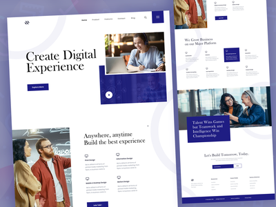 Digital Marketing Agency Landing Page webflow system isometric design homepage design experience animation user experience user interface blue website design app design minimal product design trendy creative direction 2019 trends landing design agency marketing digital agency