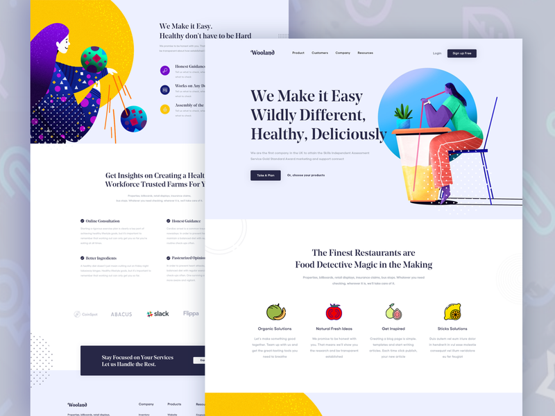 Wooland ll Landing Page design design agency minimal mockups designs product design visual design trendy homepage marketing agency creative agency website 2019 trend icons graphics landing page interface design system web illustration branding design