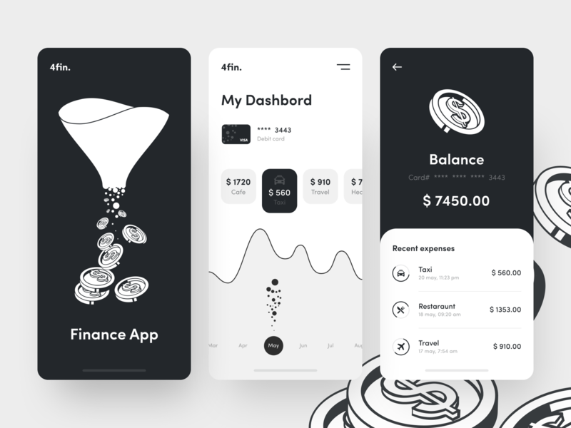 Financial application app dashboad spendings mobile banking saas ios fintech insurance credit card bank card finance balance blackandwhite banking mobile bank app bank button sunday agency