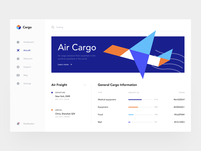 Cargo Dashboard invoice freight arrival world delivery webapp interface web app minimal color illustration uiux button sunday air ship shipment cargo dashboad