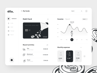 4fin Dashboard sunday mobile transaction design dashboard ui wallet debit card card money bankingapp banking finance dashboard uiux minimal app button