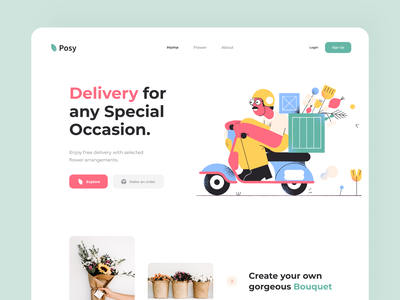 Posy – Landing sunday button clean website flower design web illustration color uiux minimal app delivery landing