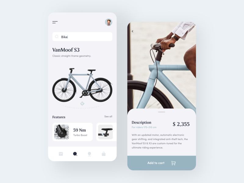 BikeApp color ios stores shop bicycle clean bike web uiux mobile design minimal app