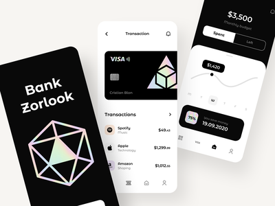 Zorlook -App sunday product design app design payment cards application list banking app credit finance banking ios clean mobile web design minimal app