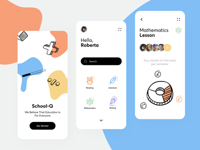 Online School-Q App icons student mobile ui teaching homework learning app education reading literature writing semester lessons school course online minimal app sunday