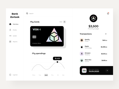 Bank Zorlook - Dashboard clean web mobile payment finance credit bank card banking bank dashboad color sunday design app