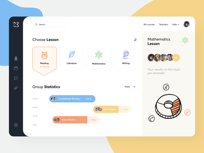 Online School-Q Dashboard uiux sunday teach classroom school lessons color minimal mobile student app online learning education dashboad course app
