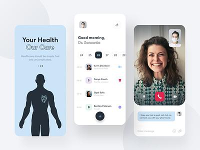 Health Care App schedule sunday minimal design interface medicine product design patient medical ios uiux doctor healthcare mobile health app
