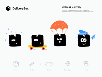 Delivery Box - Animation delivery service sundaycrew shipping box post delivery illustration sketch logo branding identity branding express shop ui logotype icon icon set animation identity stickers shipping