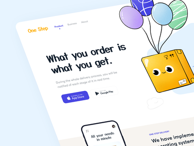 Balloon Delivery - Landing page courier app pickup tracking shipping balloon box website landingpage landing app service delivery uiux illustration web design