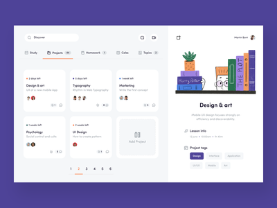 Project Management Dashboard ios color mobile managment task class lesson project dashboad uiux sunday illustration design app