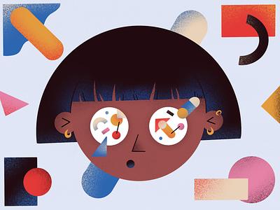 Geometric Girl woman 2d shape procreate geometry people character girl color illustration