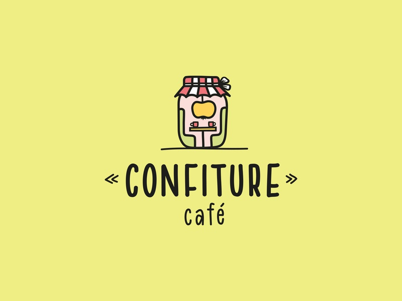 Confiture Cafe jar apple confiture cafe logo cafe