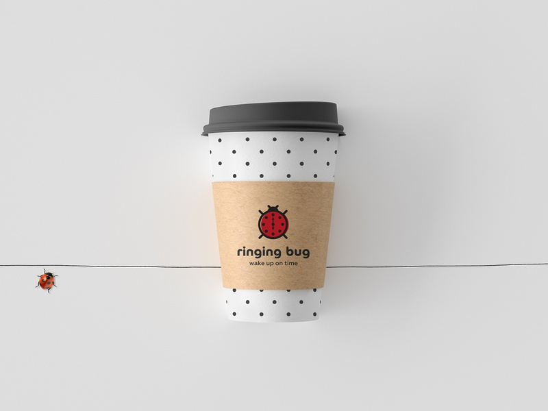 Ringing Bug wake wakeup on time bug breakfast cafeteria cafe logo logo time clock ring
