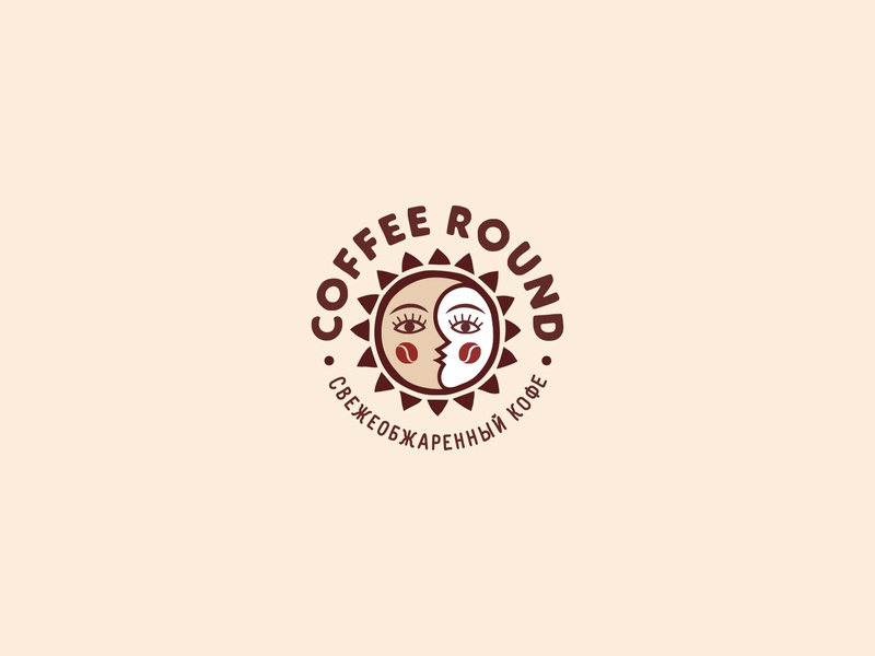 Coffee Round for sale face roasted round moon sun logotype logo coffee