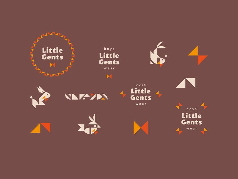 Little Gents / branding for sale logotype logo bowtie hare rabbit fish bird kids kid gentleman gent little clothes branding brand wear boys boy