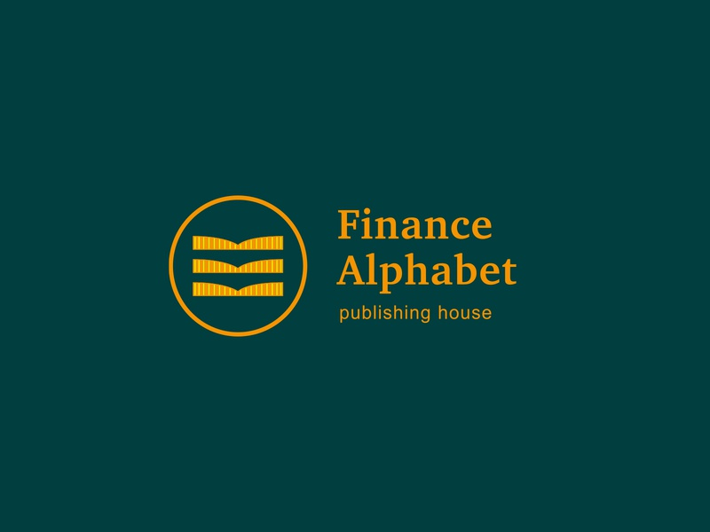 Finance Alphabet money management logotype logo branding brand for sale bookkeeping books book coins coin money publishing house publishing publish alphabet finances finance