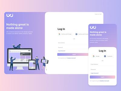 Log In Page app logo illustration design ux ui figma