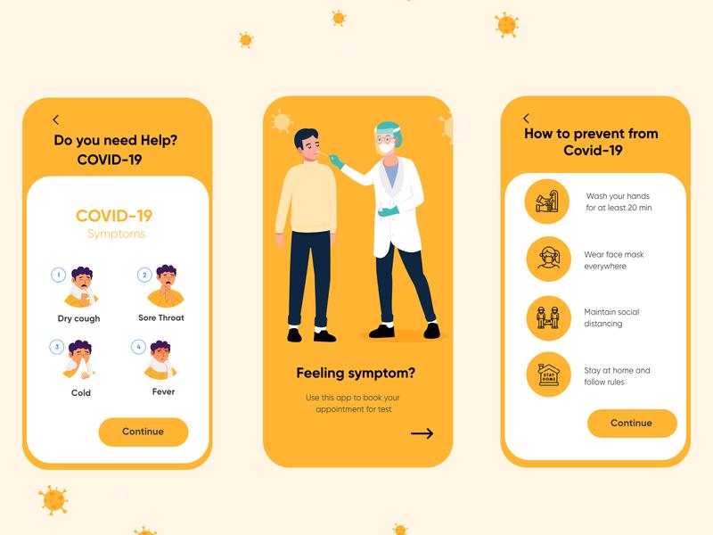 Medical Mobile App of Covid-19_UX/UI Design yellow theme icons illustration prevention symptoms coronavirus covid-19 doctor medical hira mobile ui minimal adobe xd mobile app dubai designer design 2020 creative concept clean